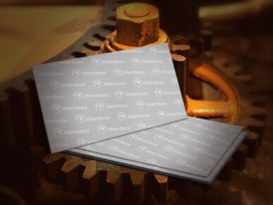 mock up کارت ویزیت با زمینه صنعتی